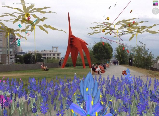 "Bull whip kelp and Radar Camas blooms floating around Alexander Calder's ""Eagle."""