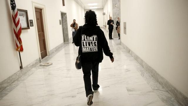 Flint Lives Matter T-shirt wearer