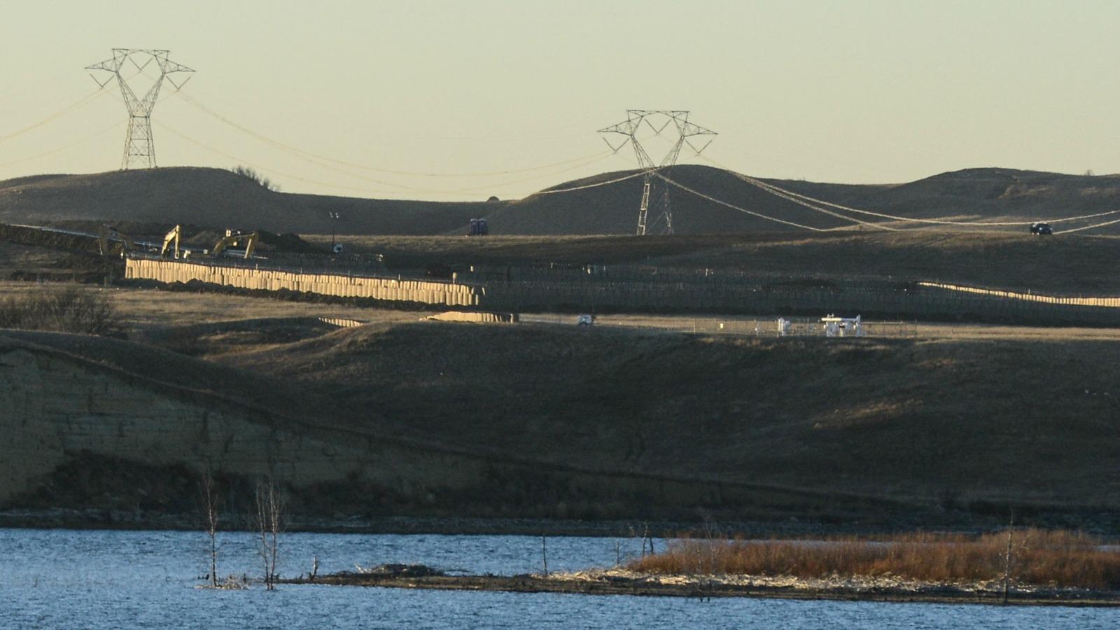 Dakota Access Pipeline equipment is seen at Lake Oahe near Standing Rock.