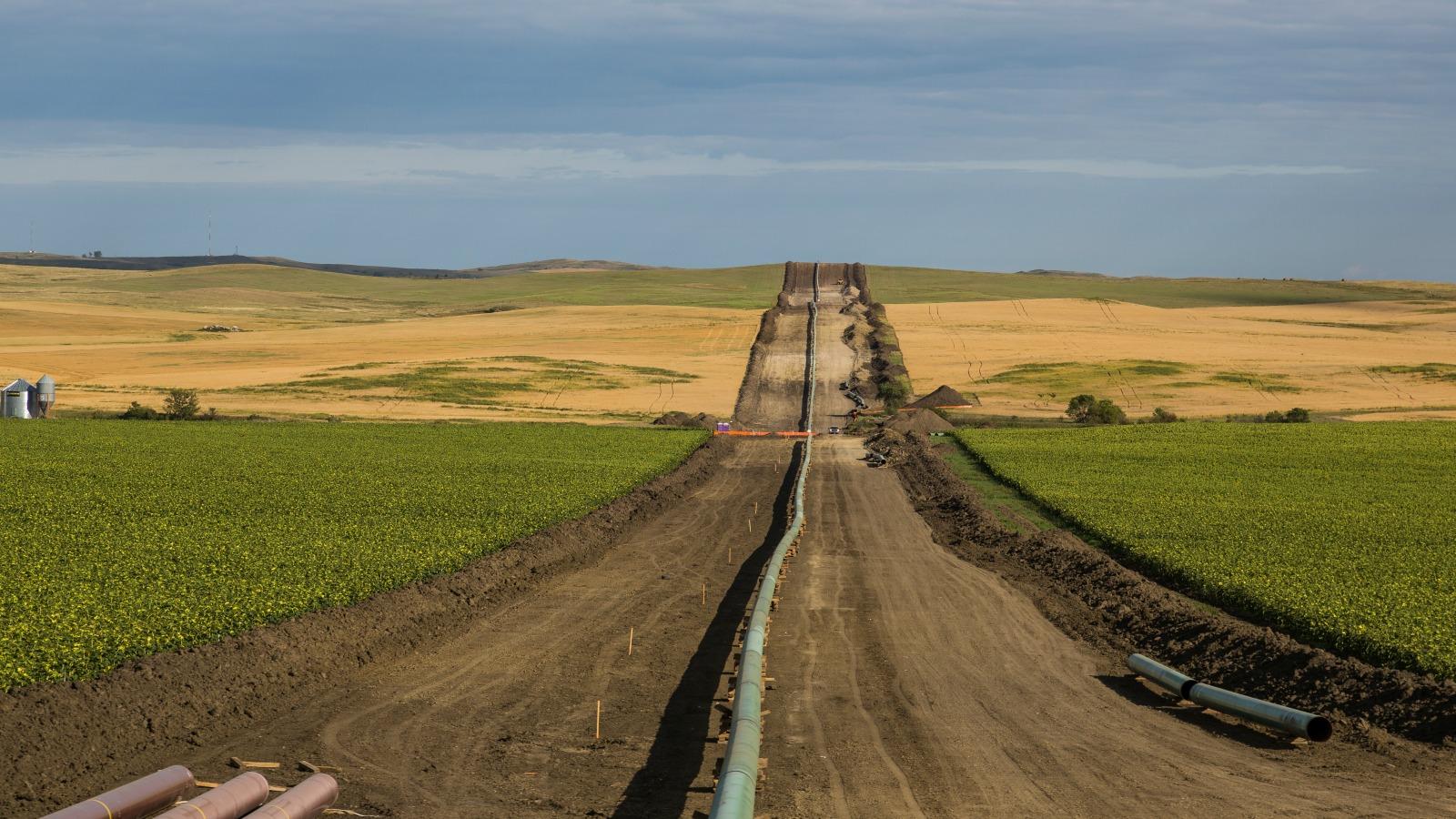 The Dakota Access Pipeline is seen near New Salem, North Dakota.