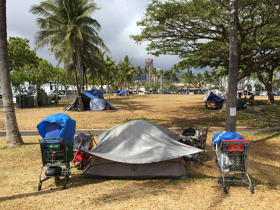 A homeless encampment in Kakaako Waterfront Park