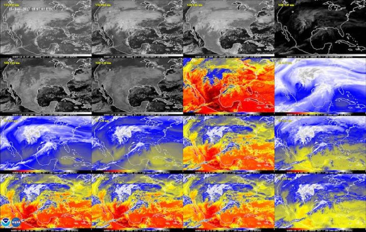 A 16-panel image shows the U.S. in the two visible, four near-infrared, and 10 infrared channels aboard GOES-16. These channels help forecasters distinguish between differences in the atmosphere.