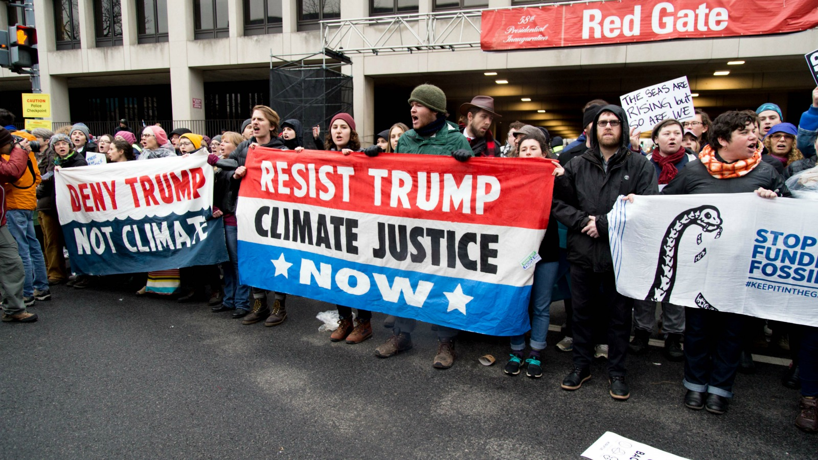 Anti-Trump protests in Washington on Friday frequently focused on his opposition to climate regulations.