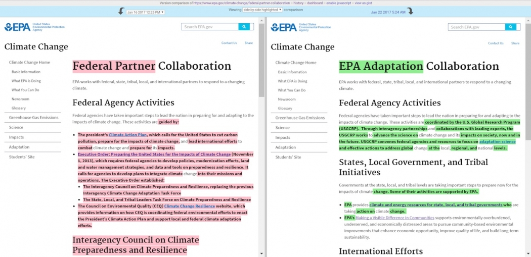 There have been extensive revisions made to the EPA's climate collaboration page, including removing language about carbon pollution.