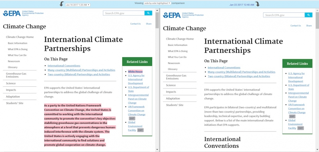 Language on the EPA's international climate partnership page has removed introductory text about the U.S. commitment to the United Nations climate talk process.