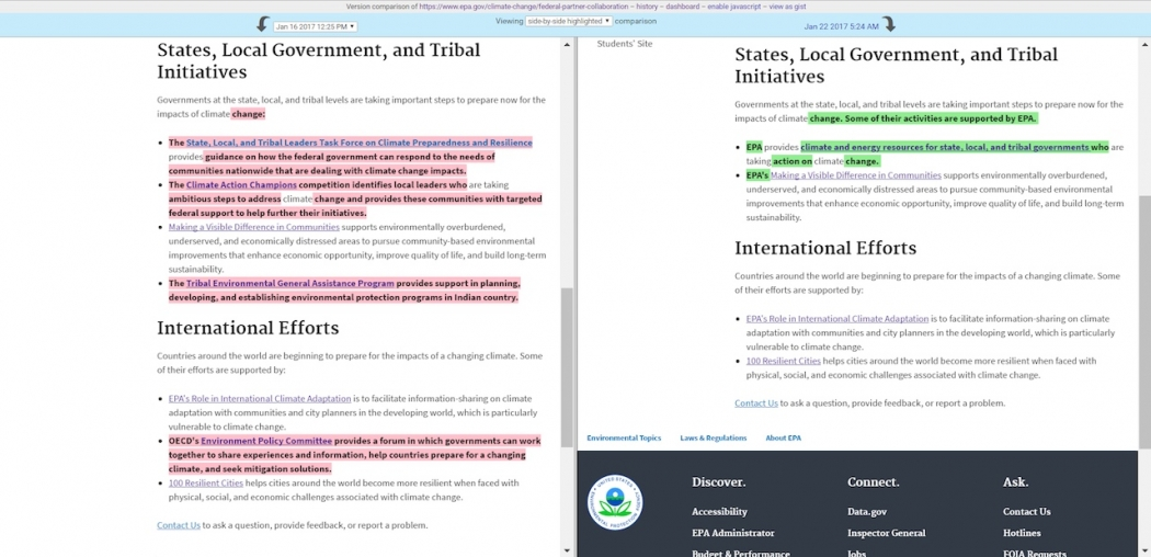 A tribal assistance program has been removed from the EPA's page on climate collaboration.