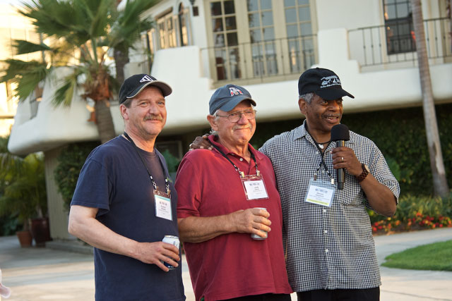 John Davis during a memorial for Keith Davis at a San Diego observer conference in 2016, flanked by Reuben Beazley, left, a veteran observer, and Dennis Hansford, right, of the U.S. National Marine Fisheries Service.