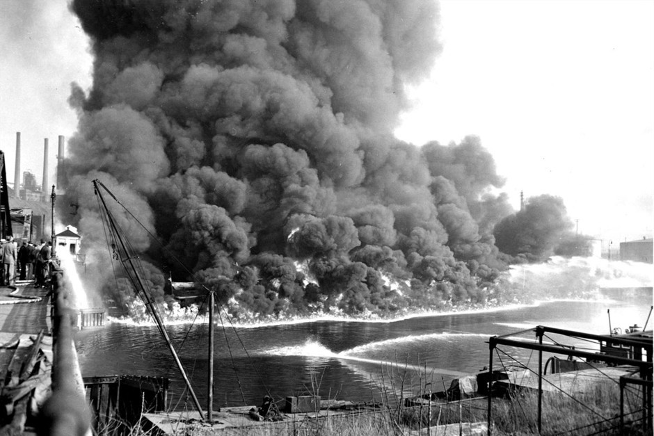 The Cuyahoga river on fire in 1952.
