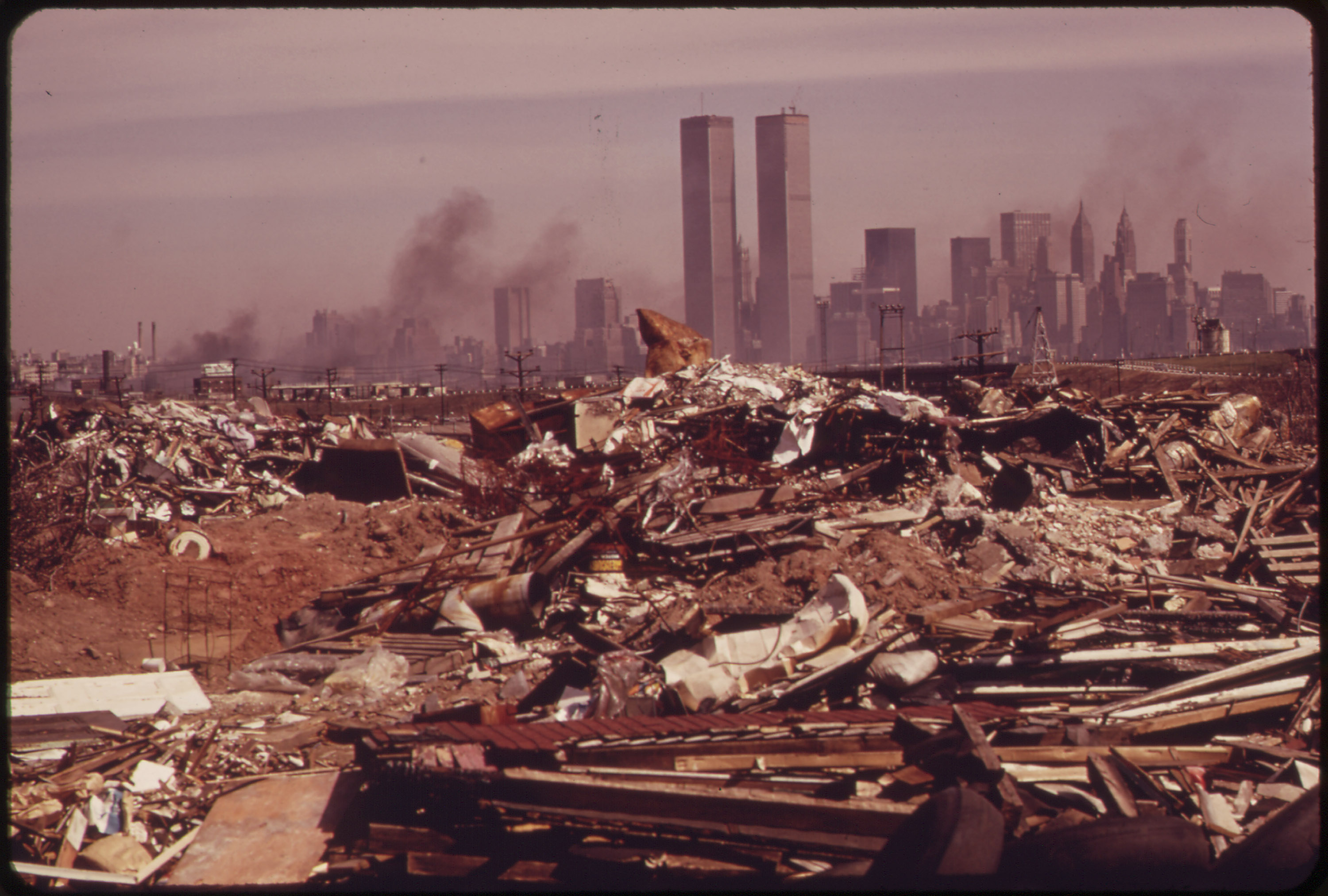 Illegal dumping grounds off the New Jersey turnpike across from Manhattan in 1973.