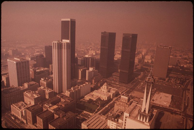 Smog in downtown Los Angeles in 1973.