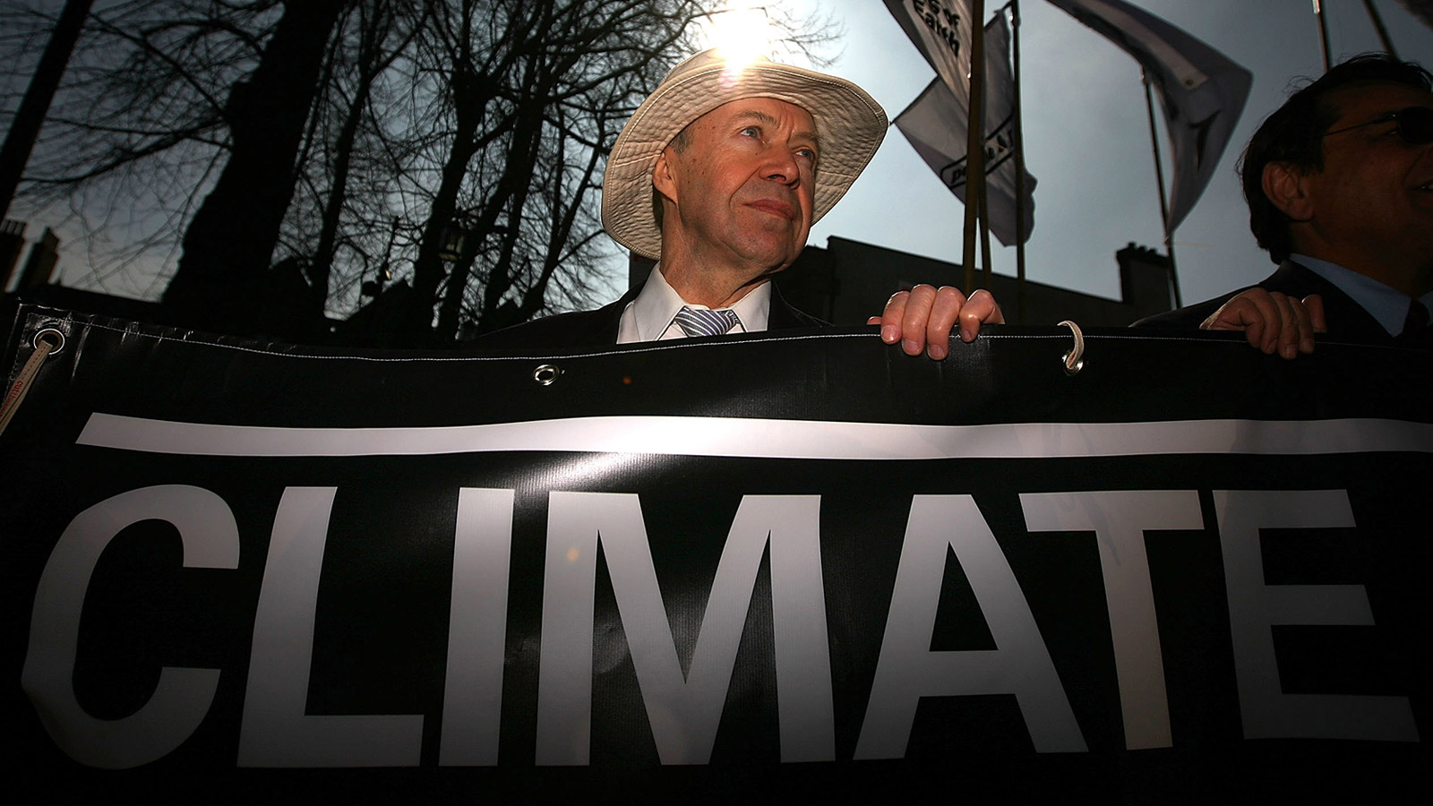 NASA scientist and climatologist James Hansen takes part in a mock funeral parade during a Climate Change Campaign Action Day on March 19, 2009 in Coventry, England.