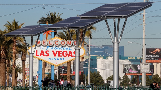 The iconic 'Welcome To Las Vegas' sign built in 1959, is now powered by solar energy as of Jan. 8. The three 25- foot tall 'Solar Tree' towers, with photovoltiac cell arrays , power the famous sign. A public-private partnership of community groups and businesses came together to design and fully fund the project.