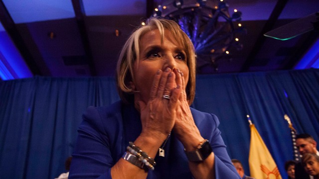 New Mexico Governor-elect Michelle Lujan Grisham blows kisses to supporters following her acceptance speech during midterms' election night in Albuquerque, N.M., Tuesday, Nov. 6, 2018.