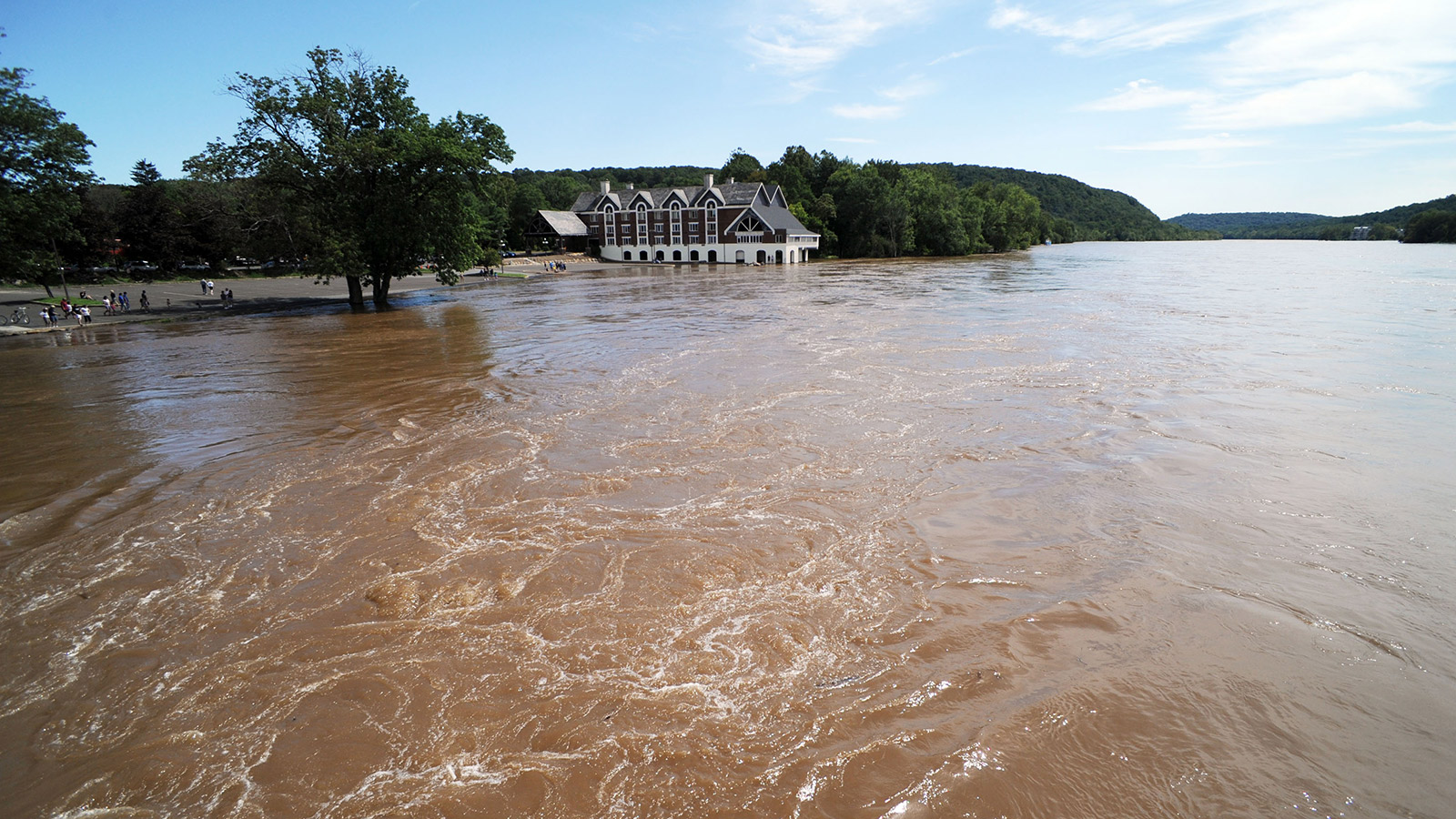 The lower level of Lambertville Inn is covered in water as the Delaware River crests August 29, 2011 in Lambertville, New Jersey.