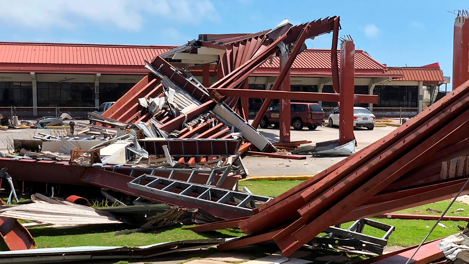 Damage at Saipan's airport is shown after Super Typhoon Yutu hit the U.S. Commonwealth of the Northern Mariana Islands, Friday, Oct. 26, 2018, in Garapan, Saipan.