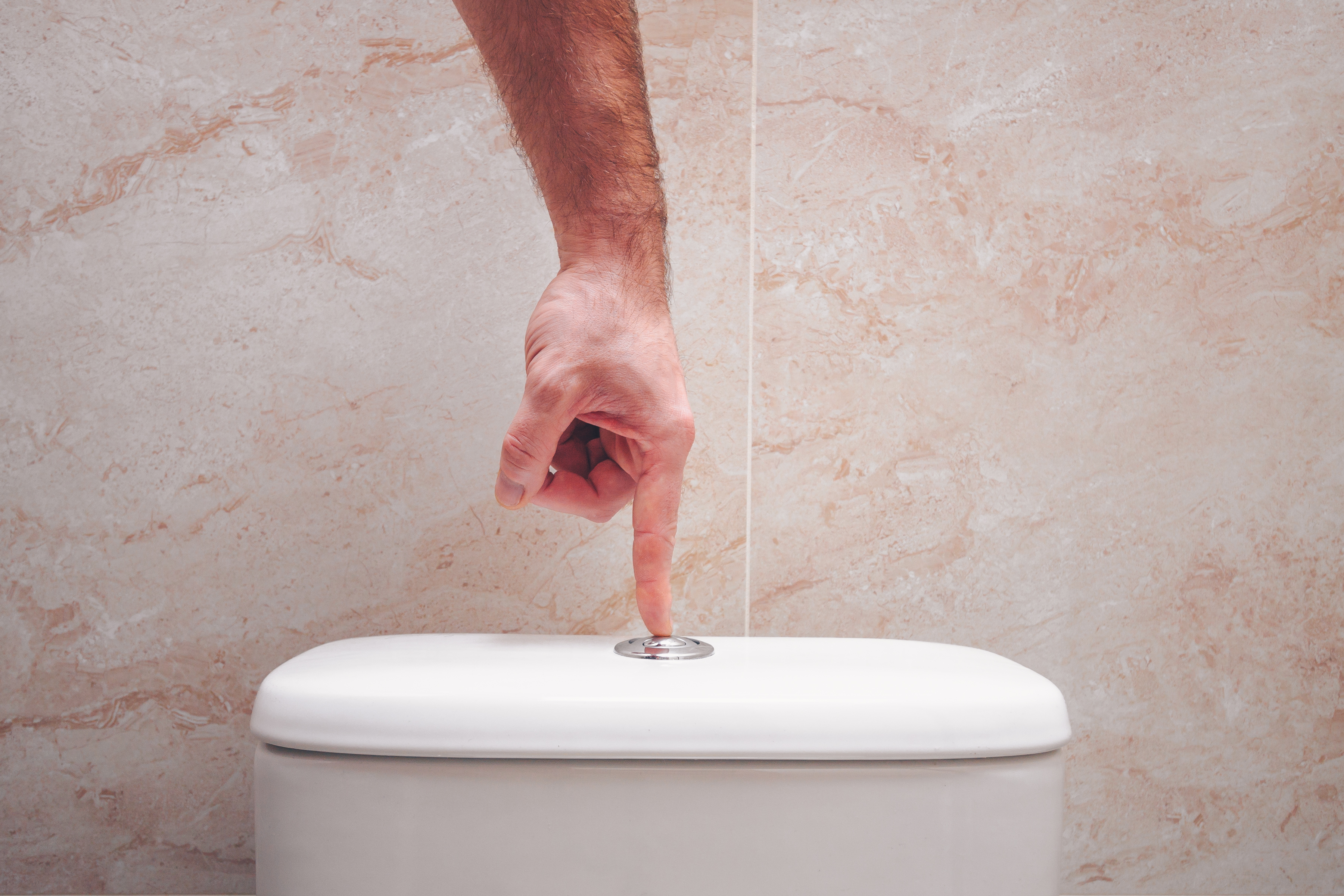 Hand pressing the flush button on the toilet bowl.
