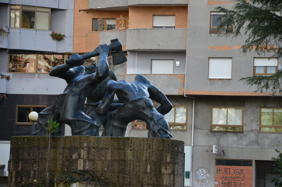 A monument to coal miners in Villablino, Spain