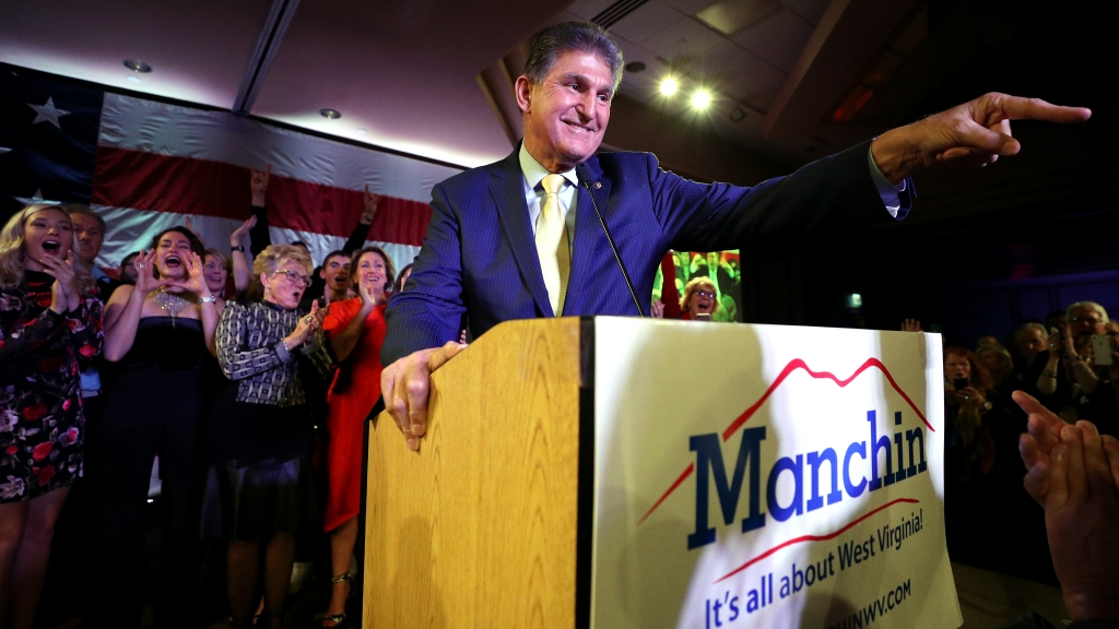 Senator Joe Manchin at his election day victory party in Charleston, West Virginia.