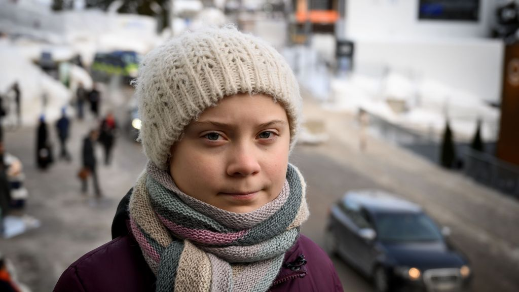 Swedish youth climate activist Greta Thunberg at the World Economic Forum in Davos, Switzerland.