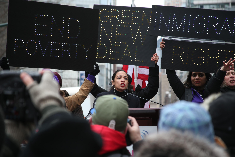 Alexandria Ocasio-Cortez at the Women's March in New York City.