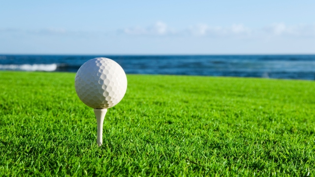 Golf ball on a tee by the ocean.