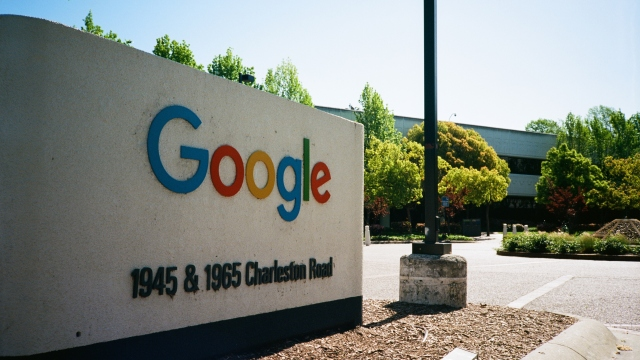 Sign and logo at the Googleplex, Google's Silicon Valley headquarters.