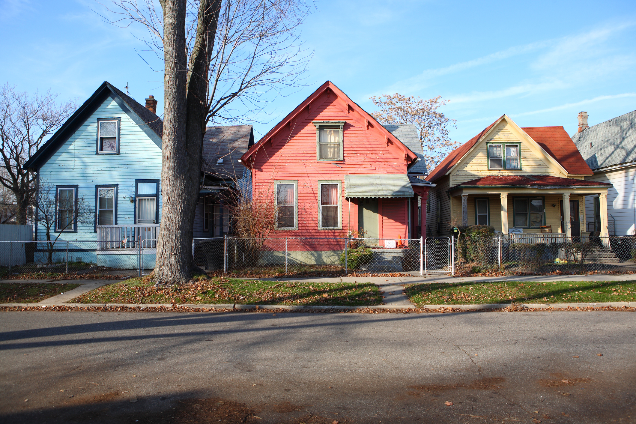Colorful Houses in a neighborhood on the east side of Detroit