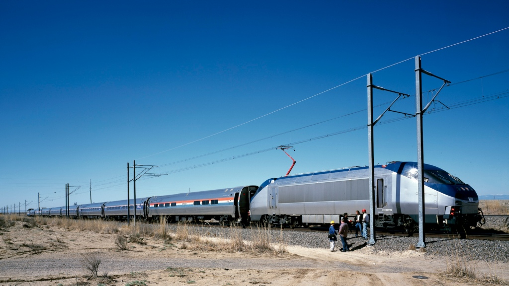 Amtrak new Acela Express trainset, left, at its test site in Pueblo, Colorado, prior to its introduc