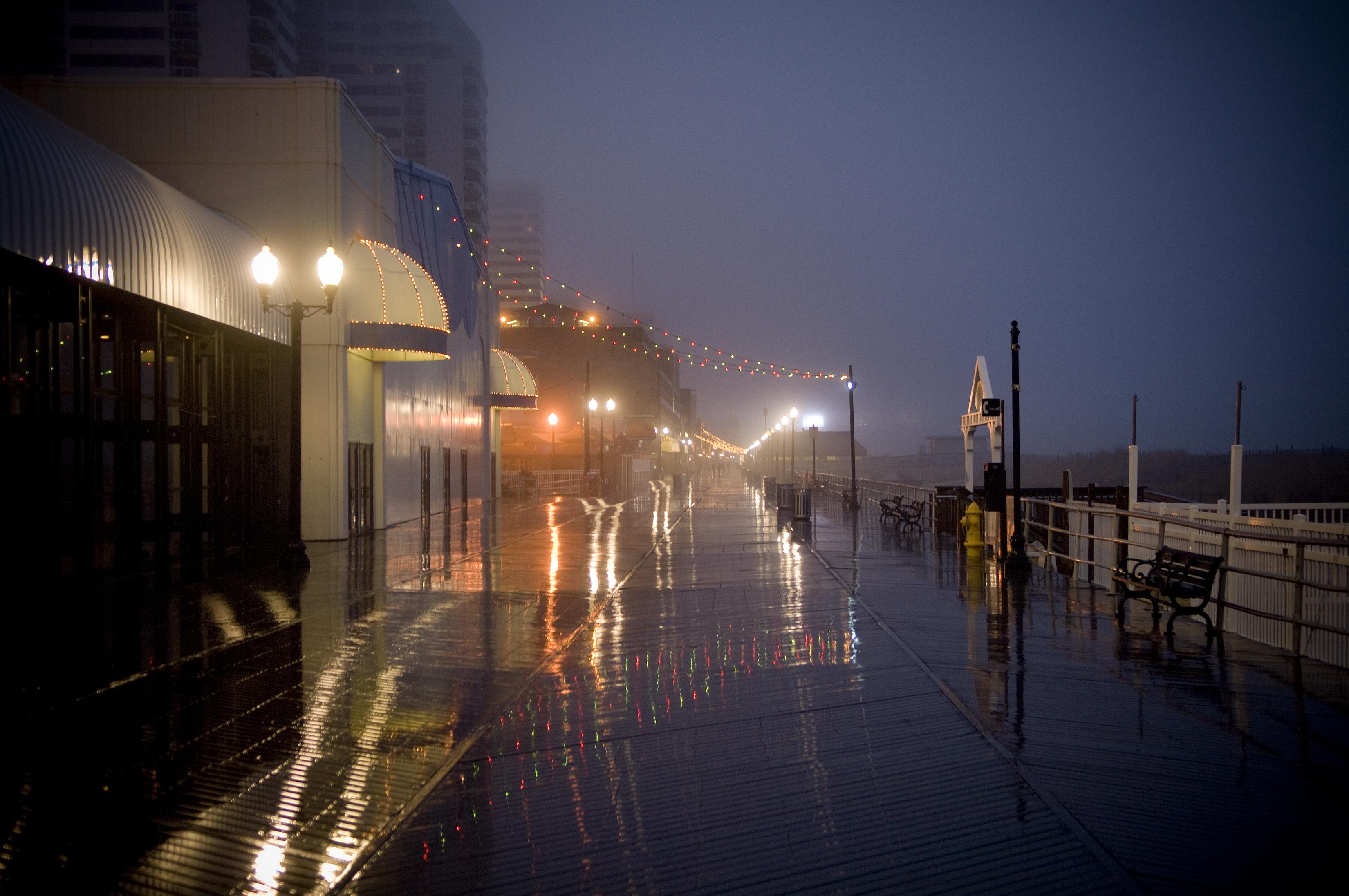 A damp view of Atlantic City's boardwalk.