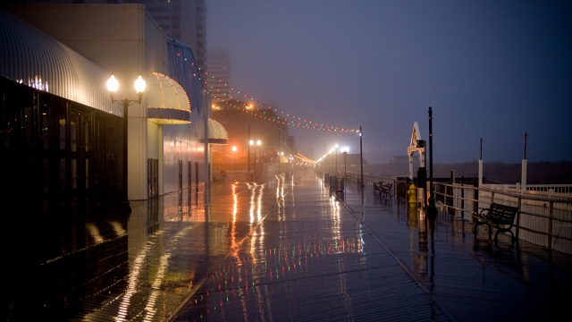 A damp view of Atlantic City's boardwalk.