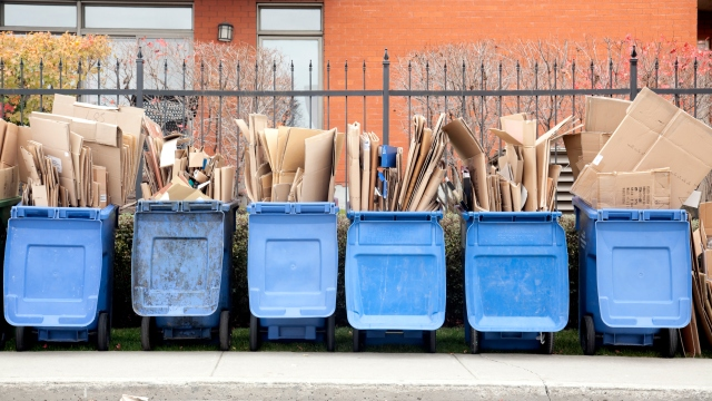 Six recycle bins overflowing with cardboard.