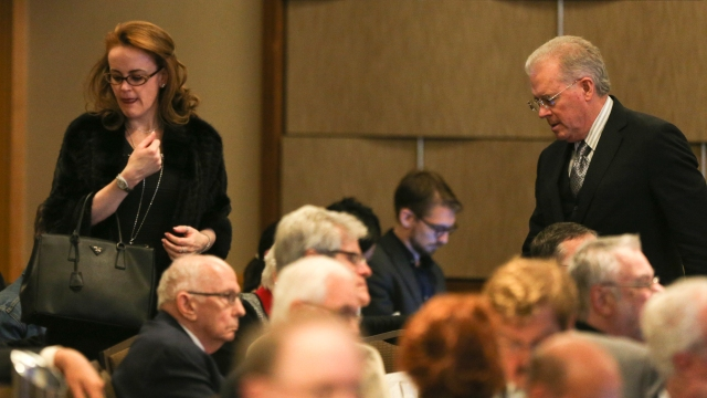 Billionaires Robert Mercer and his daughter Rebekah attend the 12th International Conference on Climate Change hosted by The Heartland Institute in 2017.