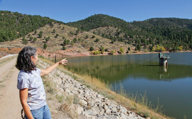 Laura McCarthy of the Rio Grande Water Fund points to a hillside near a Santa Fe, New Mexico reservoir where forest density has been reduced to fire-safe levels.