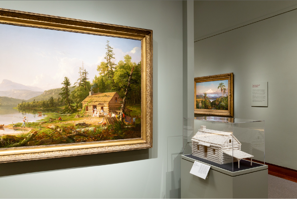"""Michelson's """"Home in the Wilderness"""" juxtaposed with Cole's """"Home in the Woods"""" at Princeton Art Museum."""