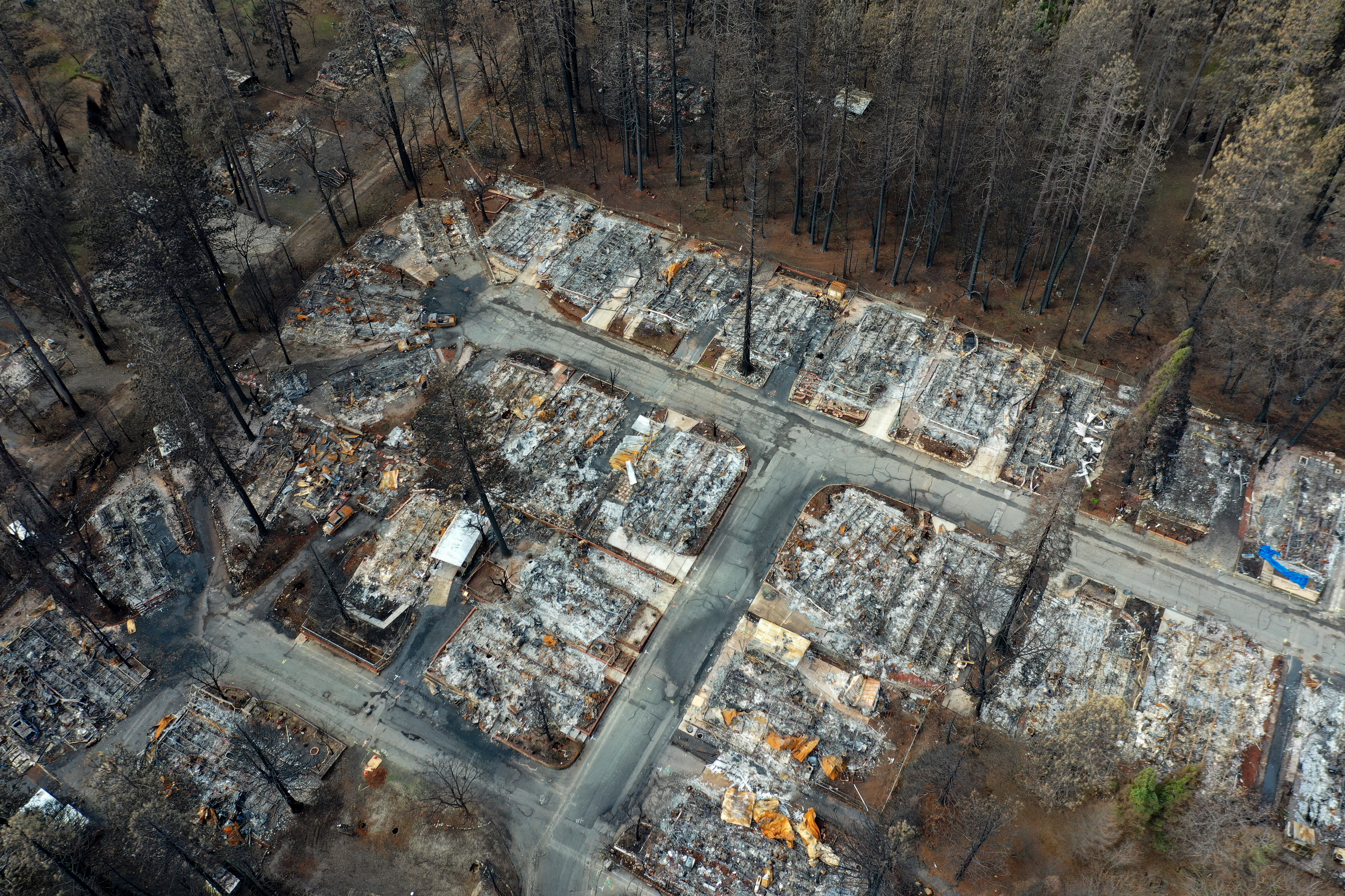 An aerial view of homes destroyed by the Camp Fire in Paradise, California.