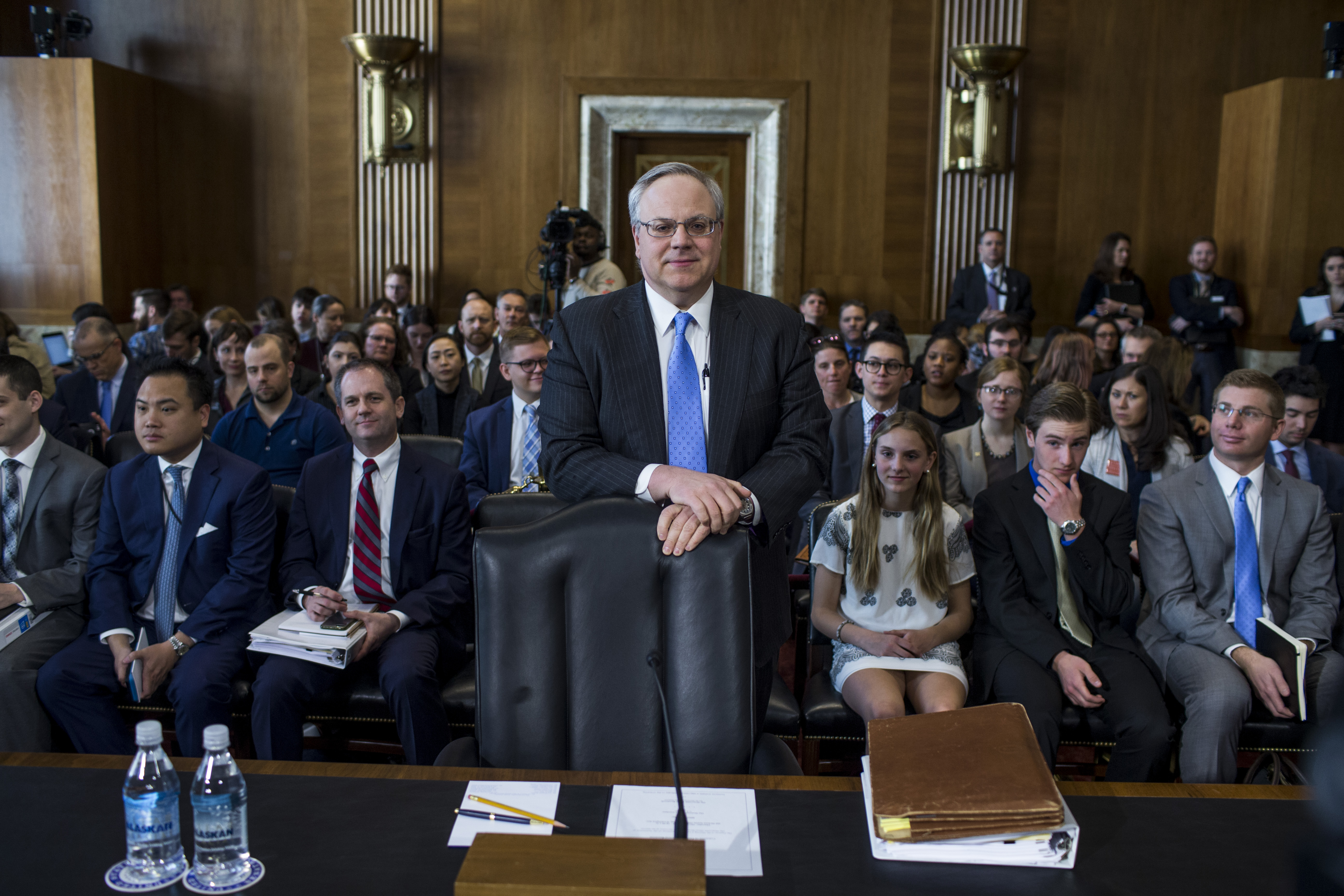 David Bernhardt, President Donald Trump's nominee to be Interior Secretary, arrives before testifying during a Senate Energy and Natural Resources Committee confirmation hearing on March 28, 2019 in Washington, DC.