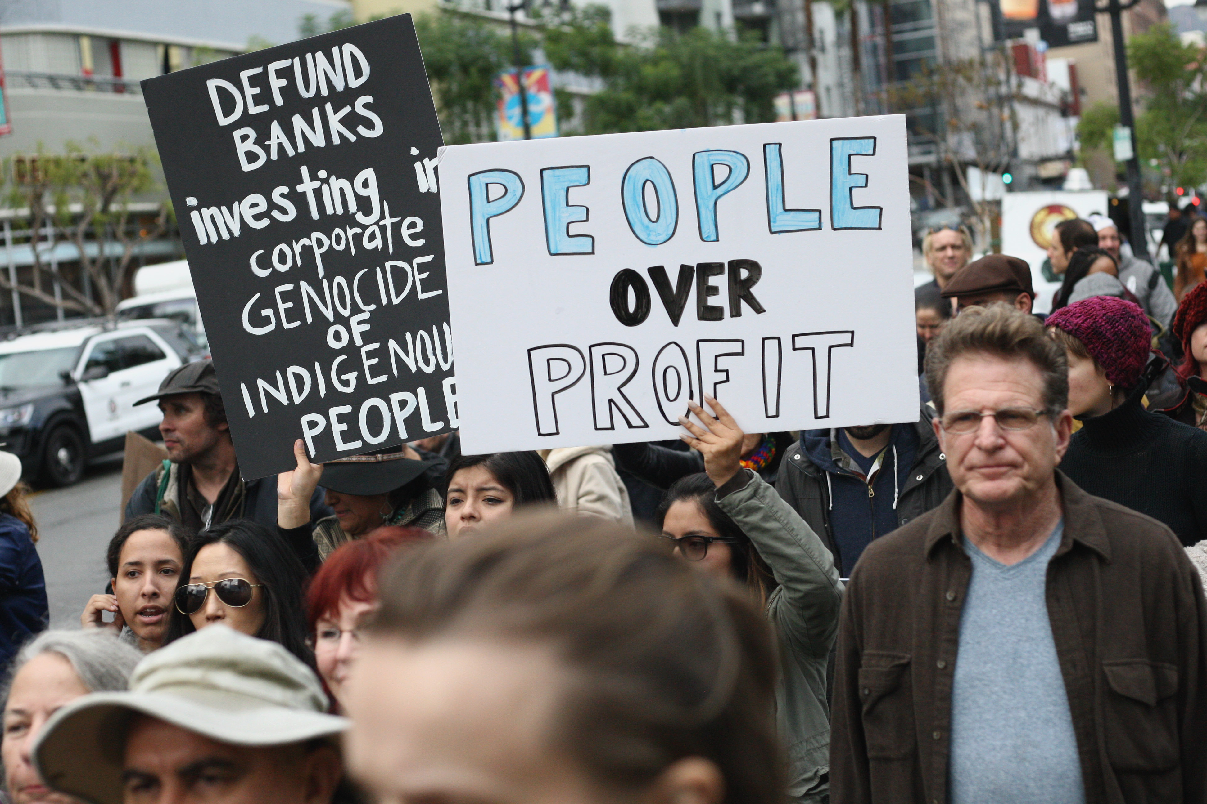 Protesters rally against Wells Fargo in solidarity with the people of Standing Rock in 2016.