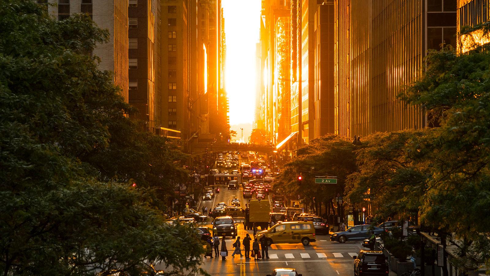 The day after the Manhattanhenge on 42nd street, Manhattan, New York City.