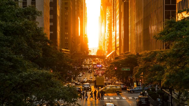 The day after the Manhattanhenge on 42nd street, Manhattan, New York City.