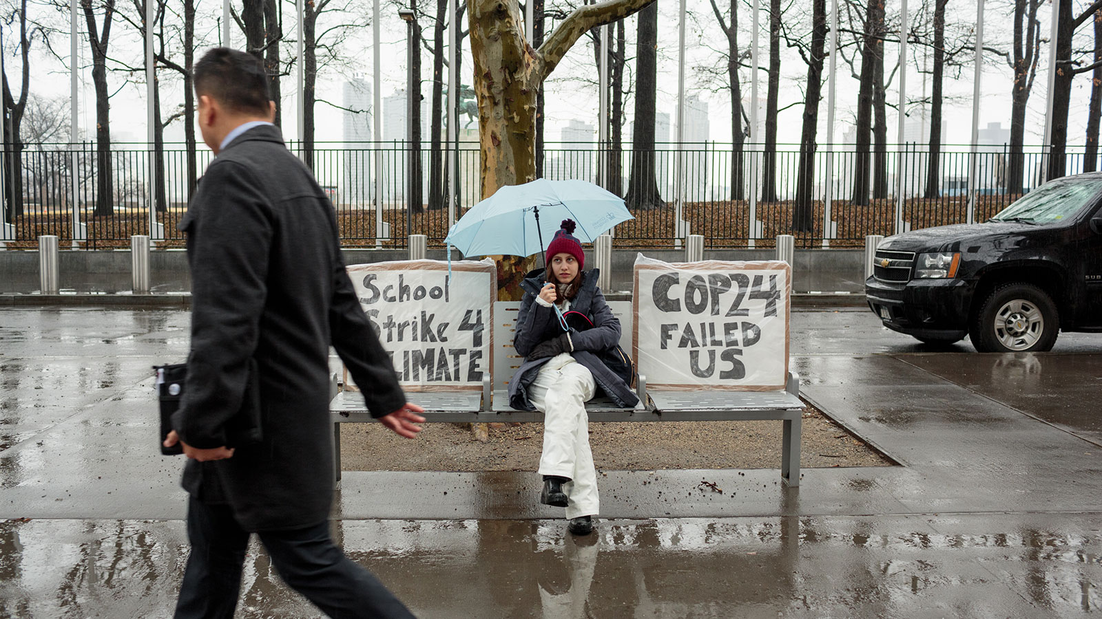 Alexandria Villasenor skips school on Friday morning to strike in front of the UN, with signs reading: