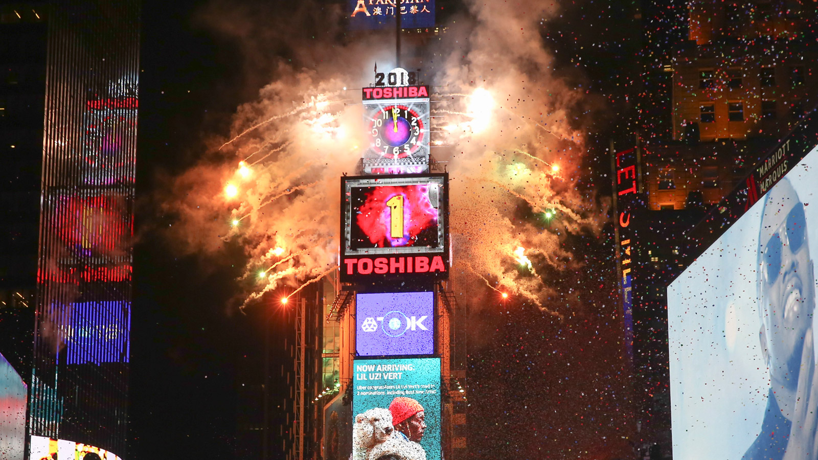 The ball drops during the New Year's Eve celebration in Times Square