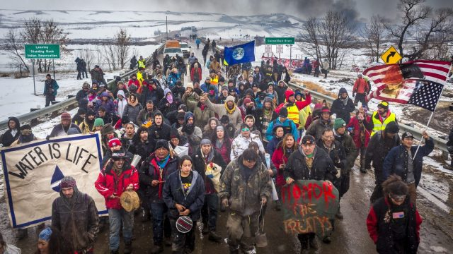 Water Protectors March at Standing Rock