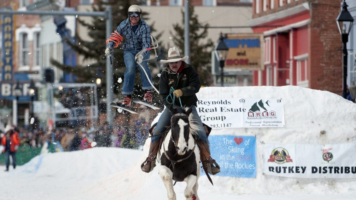 Skijoring, a winter sport