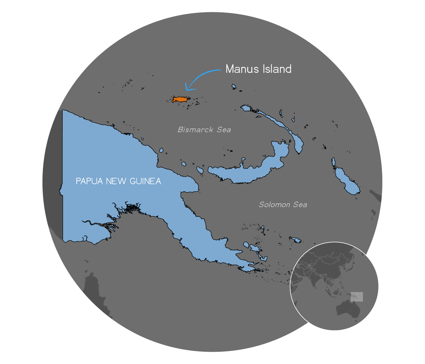 A map showing Papua New Guinea, with Manus Island highlighted to the north.