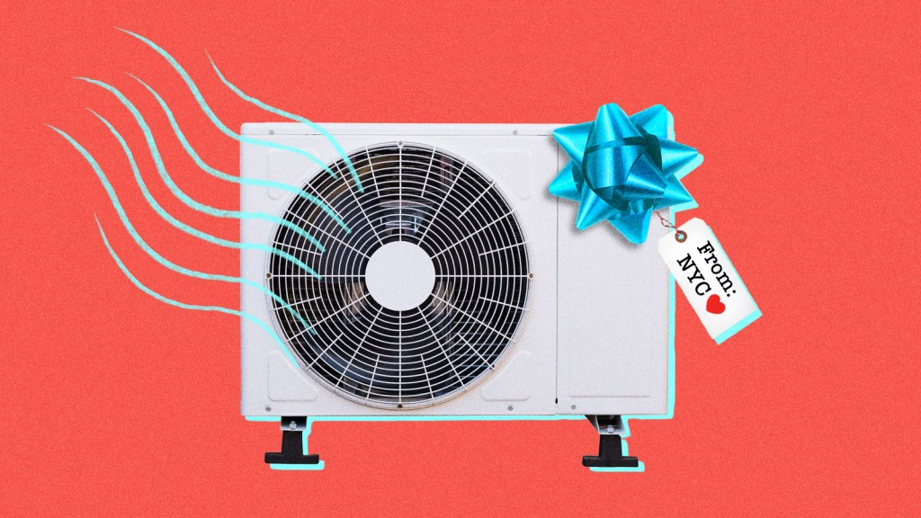 "An air conditioning unit with a gift bow and a tag saying ""From: NYC"" with a heart."