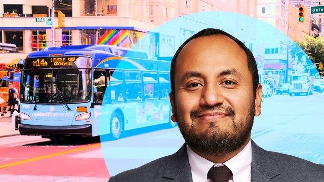 Alvaro Sanchez and a NYC MTA bus