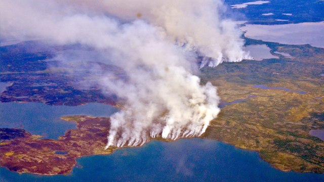 A fire burning over a large swath of the Arctic, amid record heat in 2019.