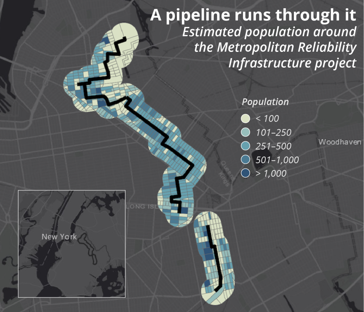 A map showing estimated population around the Metropolitan Reliability Infrastructure pipeline project in Brooklyn, New York. The corridor is densely populated.