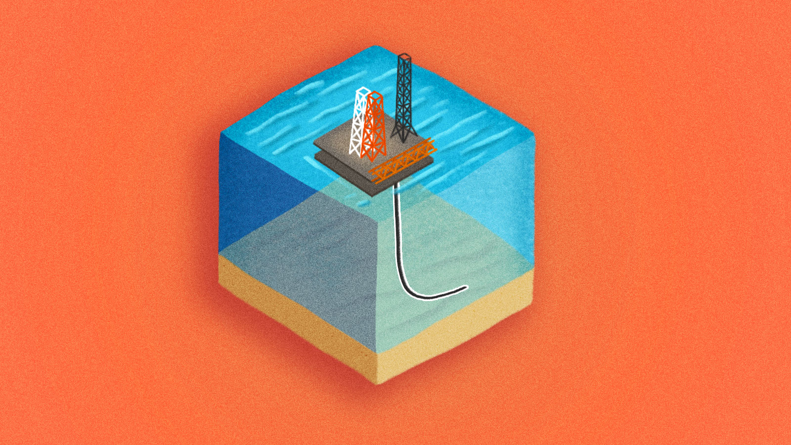 An illustration of a deep sea mining rig