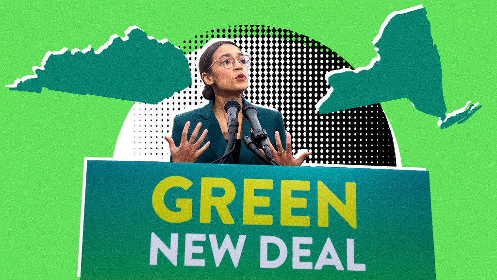 "A collaged image of Alexandria Ocasio Cortez speaking behind a sign saying ""Green New Deal"" with the silhouettes of Kentucky and New York next to her"